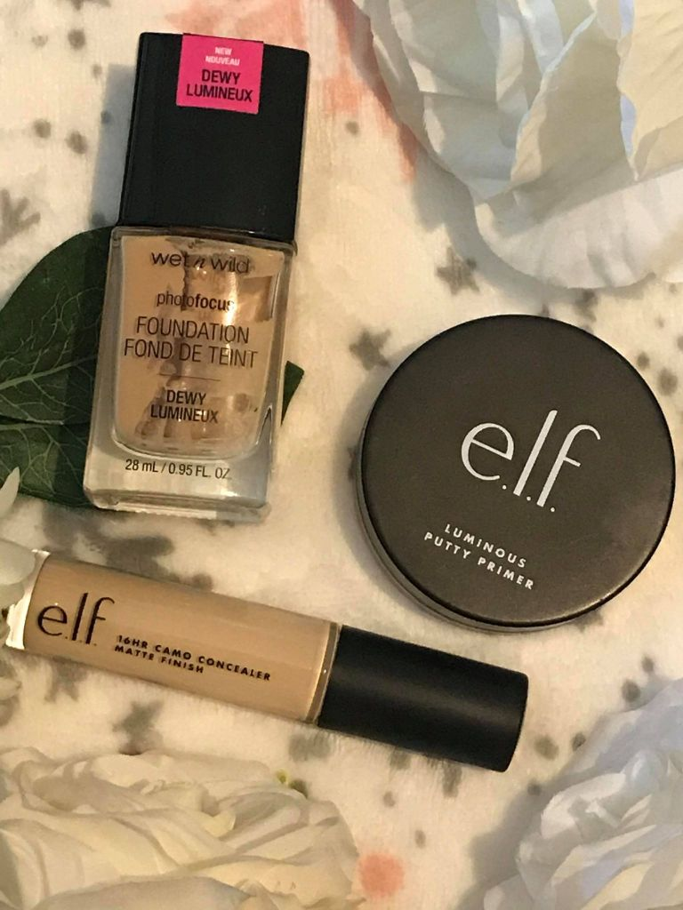 wet and wild foundation, elf putty primer, elf camo concealer